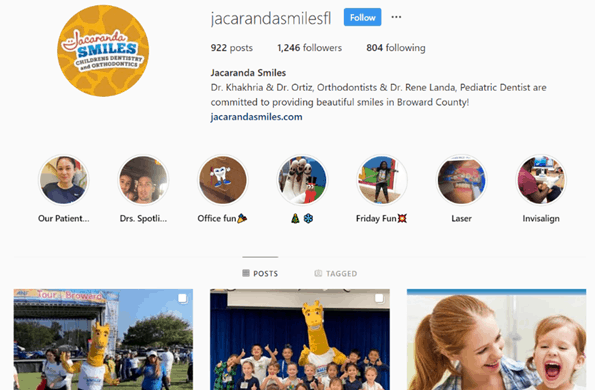 example of instagram highlights for dentistry
