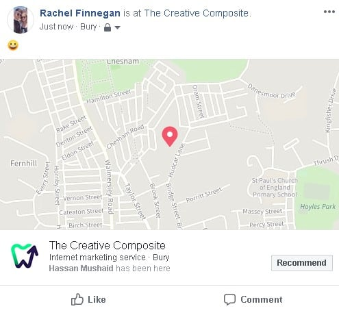 Facebook check-in example
